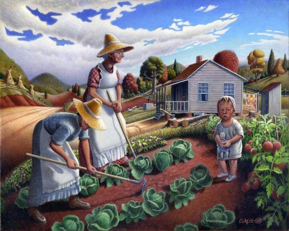 folk-art-farm-family-garden-rural-country-americana-american-scene-appalachian-life-landscape-walt-curlee